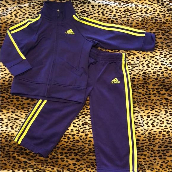 Adidas Tracksuit Purple And Neon Yellow